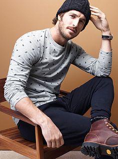 Exclusivité du 31 pour homme     Collection de mini motifs variés imprimés en accent intégral   Jersey pur coton texturé irrégulier    Le mannequin porte la taille moyen