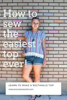 How to draft and sew a rectangle top So easy anyone can do it PIn Cut Sew Studio Easy Sewing Patterns, Easy Sewing Projects, Sewing Projects For Beginners, Sewing Tutorials, T Shirt Sewing Pattern, Sewing Tips, Sewing Ideas, Sewing Clothes, Diy Clothes