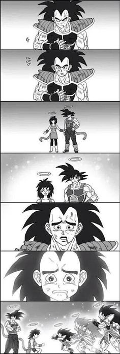 Raditz reunites with his parents Bardock (father) and Gine (mother)