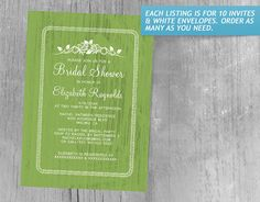 Lime Vintage Barn Wood Bridal Shower Invitations