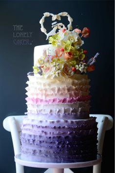 The Purple Dream Ombre fondant cake with gumpaste flowers My cousin makes the best cakes! Follow her!! :)
