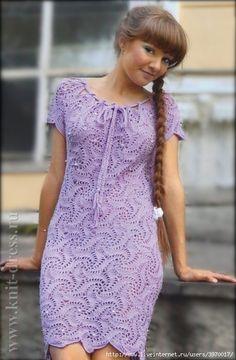 Beautiful lilac dress, composed of tiles crochet pattern swirl.
