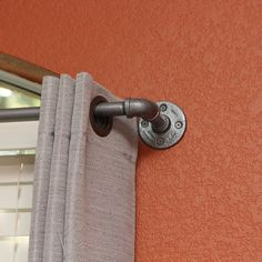 """Long Industrial chic curtain rod (97""""-166"""")"""