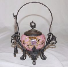 Antique Victorian Pink Peach Blown Painted Flowers Gold Pickle Castor Jar Tongs
