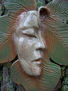 Serenity Fig Leaf Ceramic Face / Art Wall Mask