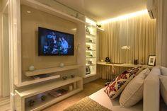 Living ampliado do apartamento de 62 m² do Portal do Paço