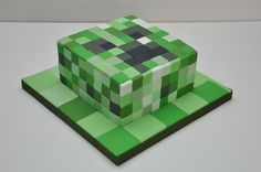 Children's Birthday Cakes - Minecraft Creeper Cake for an 11 year old by Finesse Cakes