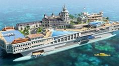 """""""The Streets of Monaco"""", a 155 meter luxury yacht has its own go-kart circuit, waterfalls, spas, gyms, library, cinema, 7 guest suites and an owner's suite. 70 crew and up to 16 guests cruise at maximum speed of 15 knots."""