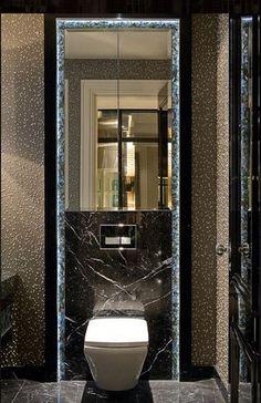 20 Shower Room Lighting Suggestions for every single Layout Design Bathroom Design Luxury, Modern Bathroom, Guest Toilet, Toilet Wall, Restroom Design, Bathroom Toilets, Washroom, Modern Style Homes, Toilet Design