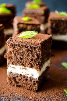 Tiramisu Cake Squares are perfect to welcome the most melancholic season of the year. Cake layers are wet with cognac and then filled with tiramisu filling.  giverecipe.com   #tiramisu #cake #dessert #sweet #fall #chocolate