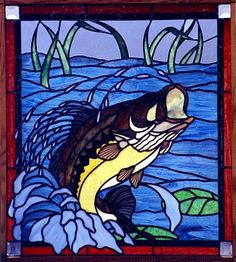 stained glass bass fish patterns | Large-mouth Bass Stained Glass Window by Laurie J. Gmyrek - The ...