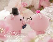 bride and groon Pig and Piggy Wedding Cake Topper by kikuike