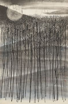 Falling Moon, ink and colour on paper He Huaishuo (China, b. Landscape Illustration, Landscape Art, Landscape Paintings, Illustration Art, Chinese Painting, Chinese Art, Art Chinois, Art Japonais, Art Textile