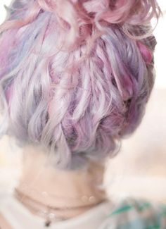 Pastel hair braid pink orange purple blue green hair dye