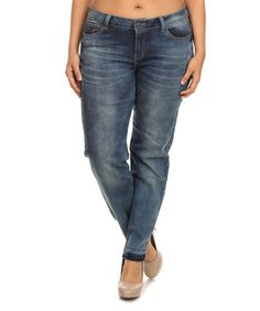 Look at this #zulilyfind! Light Blue Rock & Royal Contrast-Hem Straight-Leg Jeans - Plus #zulilyfinds