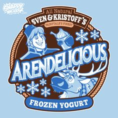 When you're tired of making deliveries in the Frozen land of Arendelle but still have stacks of ice left, why not open a frozen yogurt store with your best buddy. Mashing up Sven and Kristoff from Frozen with Ben & Jerry's Ice Cream.  Arendelicious shirts and baby onesies.  #sven #kristoff #frozen #arendelle #benandjerry #icecream #frozenyogurt #shirtoftheday #svenandkristoff #geek #geekedup