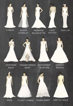 59 Trendy Wedding Dresses Styles Different Source by dress styles chart Different Wedding Dress Styles, Wedding Dress Types, Top Wedding Dresses, Wedding Dress Trends, Wedding Dress Shopping, Bridal Dresses, Wedding Styles, Trendy Wedding, Modest Wedding