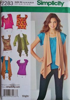 Front Drape Cardigan Sewing Pattern | Tops and Vest Pattern, Draped Front Vest Pattern, Pullover Top Pattern ...