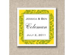 Floral Wedding Favor Tags (available in other colors) | #exclusivelyweddings | #yellowwedding