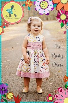 Party Dress Fabric sewing tutorial The Party Dress is the perfect dress for any girl, anytime. This can be dressed up or down depending on the fabirc used. The big bow sash makes an elegant statement