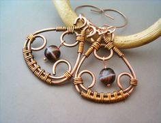 Wire Wrapped  Copper Earrings  Copper Jewelry  by GearsFactory, €17.00
