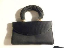 Susan Gail unique fabric evening dress bag, purse, black satiny handbag, stylish
