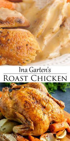 Cheesy Recipes, Easy Healthy Recipes, Easy Dinner Recipes, Easy Meals, Roast Chicken Recipes, Ina Garten Roast Chicken, Whole Roast Chicken Recipe, Roast Chicken Juicy, Roast Chicken Video
