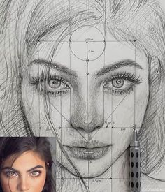 "Find the free Face Proportions Guidance in my board ""How to Draw. How I Draw"". Portrait Au Crayon, L'art Du Portrait, Portrait Sketches, Art Drawings Sketches Simple, Pencil Art Drawings, Realistic Drawings, Pencil Portrait, Drawing Portraits, Drawing Art"