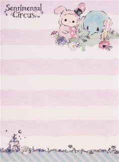 lilac Sentimental Circus Shappo and Toto in garden mini Note Pad San-X 3
