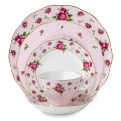 Royal Albert 5-Piece Formal Vintage Place Setting in New Country Roses Pink - BedBathandBeyond.com
