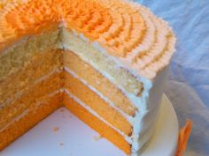 Orange Creamsicle Cake        1 package white cake mix      1 (4 serving size) package vanilla or cheesecake instant pudding mix      1 1/4 cups orange juice      1 3 oz. package orange flavored Jello      4 eggs      1/3 cup vegetable oil      1 teaspoon vanilla      orange food coloring gel (optional)    Preheat oven to 350 degrees. Line bottoms of four 8-inch cake pans with wax paper. Spray pan sides with cooking oil. Mix all ingredients in a large bowl.    For ombre effect: Divide batter…
