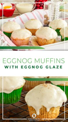 'Tis the season to be baking! Use creamy eggnog to make festive Eggnog Muffins with Eggnog Glaze.