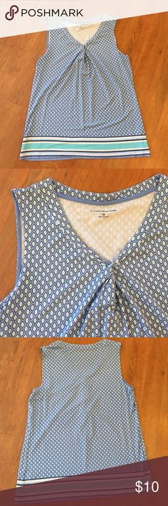 ✨Sleeveless top Croft & Barrow sleeveless top.  Powder blue with Aqua, white, and navy pattern.  Twisted v neck.  95% rayon, 5% spandex.  Machine washable, lay flat to dry.  Worn several times - good condition (no stains, rips, or tears). croft & barrow Tops