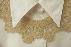 Vintage Crochet Collar with Flowers in Beige от TeenyTinyStar