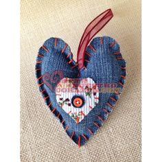 Heart Ornament:  Denim with Floral Heart Center by Susie Carranza. Available at www.ArtedeNuestroCorazon.com  #art #arte #valentine #heart #corazon #susiecarranzastudio