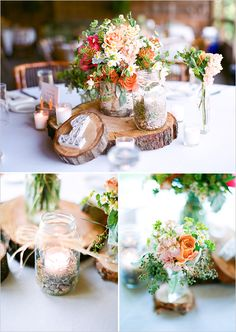 rustic wedding decor ideas with wood cuts, bright flowers and mason jars