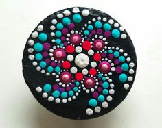 Hand Painted Slate Stone Colorful Dot Art Painted Rock