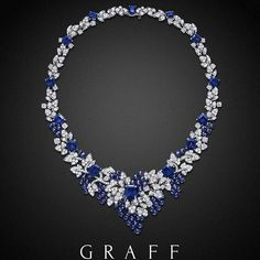 Depicting the beauty of nature in gemstone form, richly coloured clusters of sapphire beads entwine with pavé diamond leaves. Graff sapphire and diamond necklace to be shown at the upcoming Biennale des Antiquaires Black Diamond Necklace, Sapphire Necklace, Sapphire Jewelry, Sapphire Gemstone, Diamond Jewelry, Sapphire Diamond, Blue Sapphire, Gold Necklace, Graff Jewelry