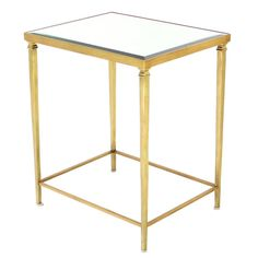 Solid Brass Tapered Leg Glass-Top Side Table | See more antique and modern End Tables at https://www.1stdibs.com/furniture/tables/end-tables