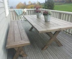 Diy Furniture, Outdoor Furniture, Outdoor Tables, Outdoor Decor, Home Projects, Garden Ideas, Alice, Home Decor, Pictures