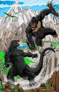 King Kong vs Godzilla by kaijuverse on DeviantArt All Godzilla Monsters, Cool Monsters, Classic Monsters, King Kong Vs Godzilla, Godzilla Godzilla, Godzilla Tattoo, Giant Monster Movies, Legendary Monsters, Monster Art