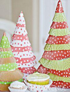Cupcake Liner Christmas Trees | AllFreeHolidayCrafts.com