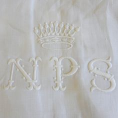Antique French linon pillow case with Countal crown and monogram NPS