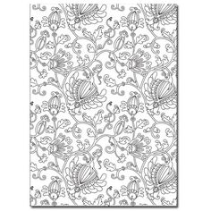 free adult coloring page fantasy floral doodle