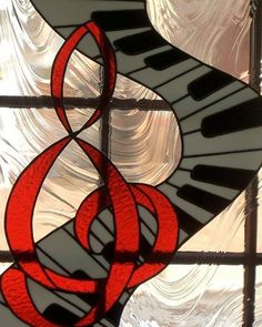 Stained glass music clef piano keyboard
