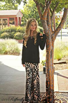 Sweater and palazzo pants, those pants would make a pretty maxi skirt