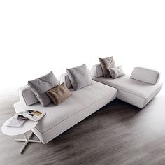 The Flex modular sofa can be arranged in a variety of space saving configurations adaptable to any environment, and can function as a couch, lounge or bed.
