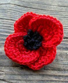 Ravelry: - Remembrance Day Poppy Applique pattern by Knitted Poppy Free Pattern, Crochet Poppy Pattern, Crochet Motif Patterns, Knitting Patterns, Knitting Ideas, Sewing Patterns, Knitted Poppies, Crochet Flowers, Crochet Crafts
