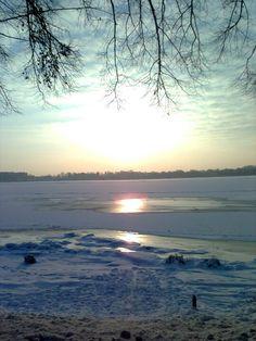 Sunny winter afternoon over the river Daugava in Riga, Latvia