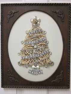 Vintage Jewelry Framed Christmas Tree Art Pearls Rhinestones